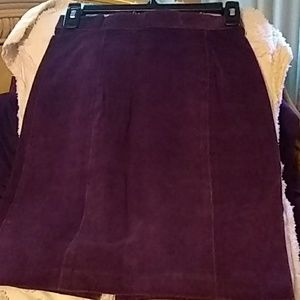 Purple suede leather skirt